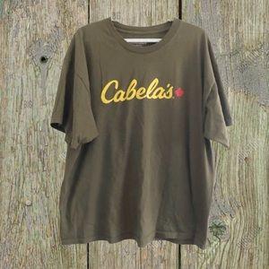 Cabela's olive green t-shirt.